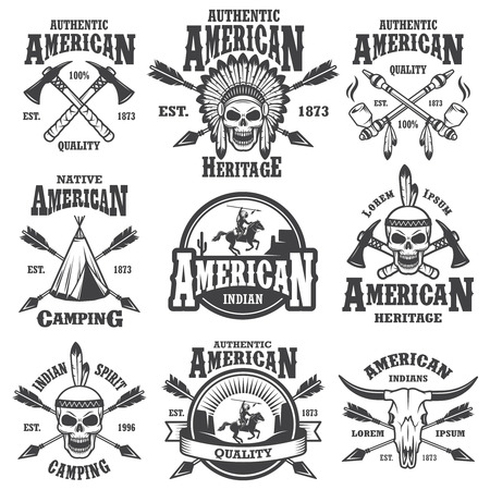 indio americano: Conjunto de emblemas indio americano, etiquetas, insignias, icono y elementos diseñados. Tema del oeste salvaje. Estilo monocromo