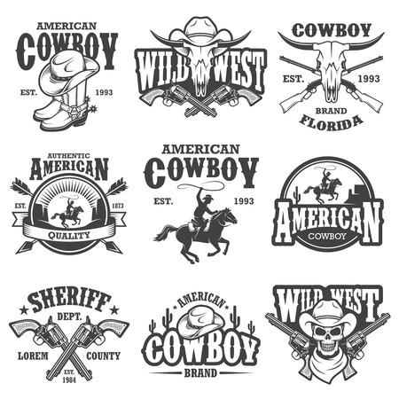 rodeo americano: Conjunto de emblemas de la vendimia de vaquero, etiquetas, dadges y elementos diseñados. Tema del oeste salvaje. Estilo monocromo