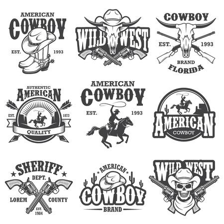 Set of vintage cowboy emblems, labels, dadges, and designed elements. Wild West theme. Monochrome style