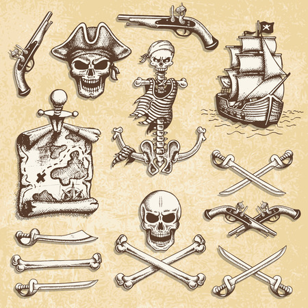 captain ship: Set of vintage hand drawn pirates designed elements. Isolated with a skretched background. Doodle style