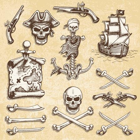 Set van vintage hand getekende piraten ontworpen elementen. Geïsoleerd met een skretched achtergrond. Doodle stijl Stock Illustratie