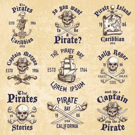 drapeau pirate: Jeu de pirates vintage dessinés à la main conçus emblèmes, étiquettes, de logos et éléments conçus. Isolé avec un fond skretched. Le style Doodle. Proverbes. Layered.