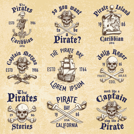 pirate flag: Set of vintage hand drawn pirates designed emblems, labels, logos and designed elements. Isolated with a skretched background. Doodle style. Proverbs. Layered.