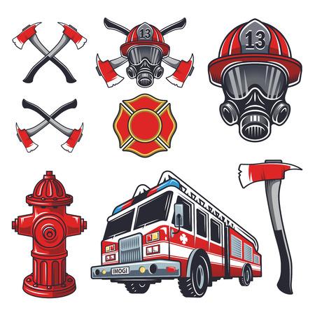 bombero de rojo: Conjunto de elementos de bomberos diseñados. Colorido