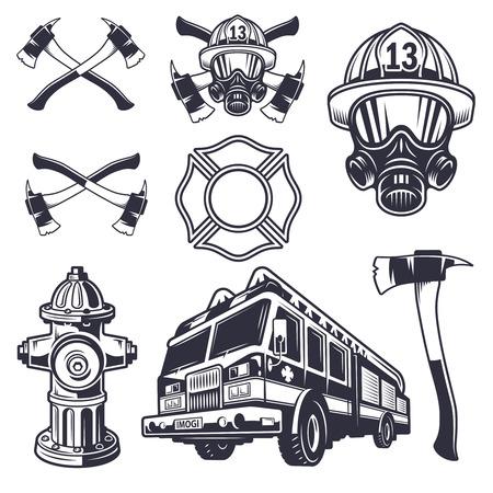 alerta: Conjunto de elementos de bomberos diseñados. Estilo monocromo