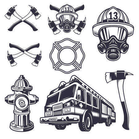 danger: Set of designed firefighter elements. Monochrome style Illustration