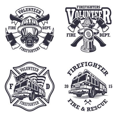 camion: Conjunto de emblemas bombero tarjetas de etiquetas y sobre fondo claro. Estilo monocrom�tico.