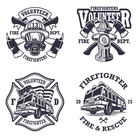 camion de pompier: Ensemble de pompier emblèmes étiquettes badges et sur fond clair. style monochrome. Illustration