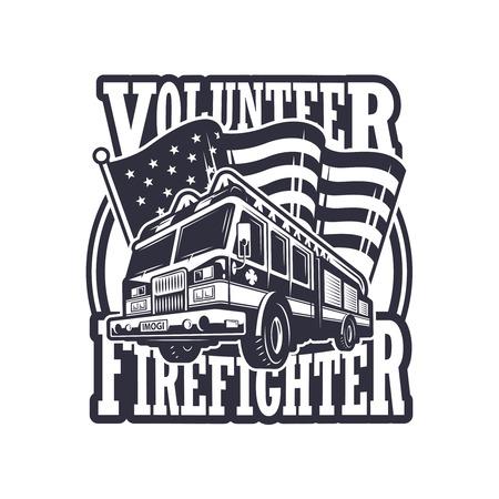 ビンテージの消防士消防トラックと明るい背景にアメリカ国旗をエンブレム。モノクロ
