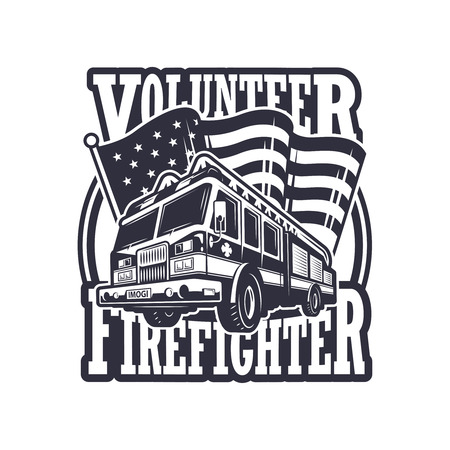 bombera: Emblema bombero del vintage con el camión de bomberos y la bandera americana sobre fondo claro. Monocromo