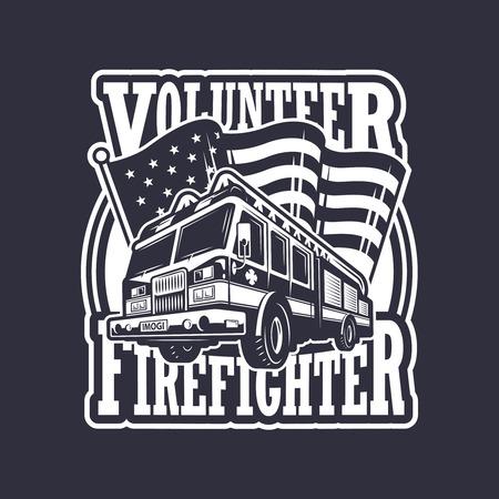 bombero de rojo: Emblema bombero del vintage con el cami�n de bomberos y la bandera americana en el fondo oscuro. Monocromo Vectores
