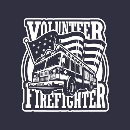 fighters: Vintage firefighter emblem with firefighter truck and american flag on dark background. Monochrome