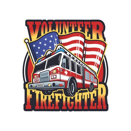 bombero de rojo: Emblema bombero del vintage con el cami�n de bomberos y la bandera americana en el fondo la luz Vectores