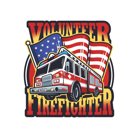 Fireman: Vintage firefighter emblem with firefighter truck and american flag on light background