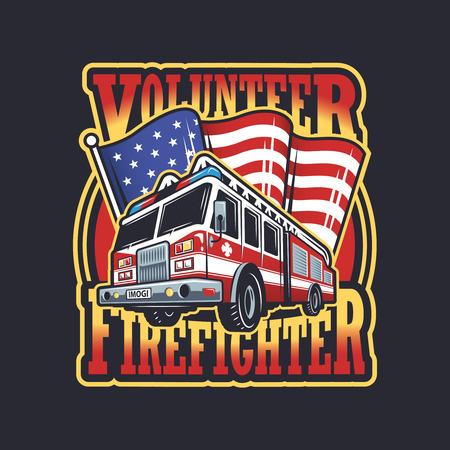 bombero de rojo: Emblema bombero del vintage con el cami�n de bomberos y la bandera americana en el fondo oscuro