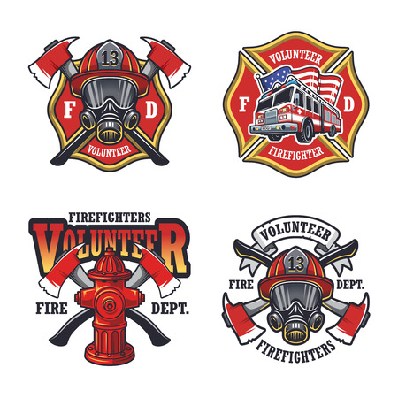 Set of firefighter emblems labels badges and on light background.