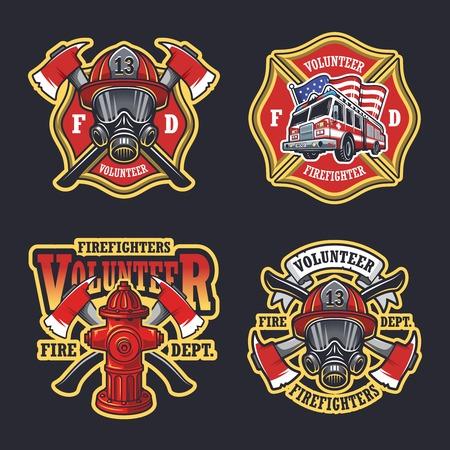 Set of firefighter emblems labels badges on dark background. Vettoriali