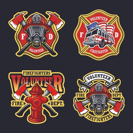 Set of firefighter emblems labels badges on dark background. Ilustracja