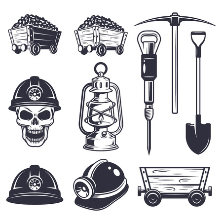 COAL MINER: Set of vintage coal mining elements . Monochrome style. Illustration