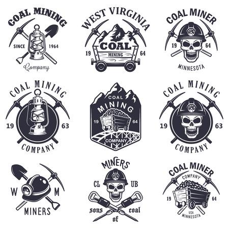 mineria: Conjunto de antiguos mineros de carb�n emblemas, etiquetas, escudos, logotipos. Estilo monocrom�tico.