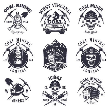 hurry: Set of vintage coal mining emblems, labels, badges, logos. Monochrome style.