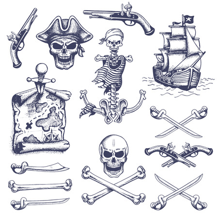 pirate flag: Set of vintage hand drawn pirates designed elements. Isolated. Doodle style. Proverbs. Layered.
