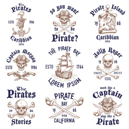 Set of vintage hand drawn pirates designed emblems, labels, logos and designed elements. Isolated with a skretched background. Doodle style. Proverbs. Layered.