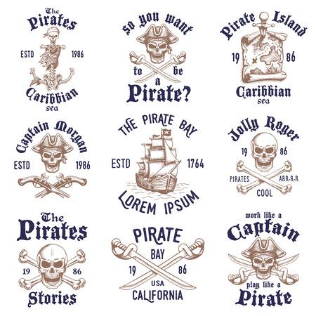 isla del tesoro: Conjunto de piratas dibujado a mano del vintage dise�ado emblemas, etiquetas, logotipos y elementos dise�ados. Aislado con un fondo skretched. Doodle estilo. Proverbios. Capas.