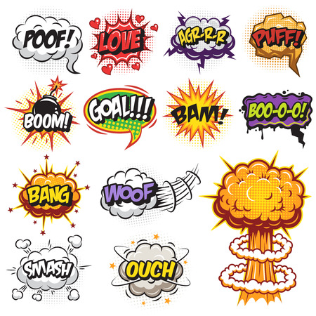 Set of comics speach and explosion bubbles. Colored with text