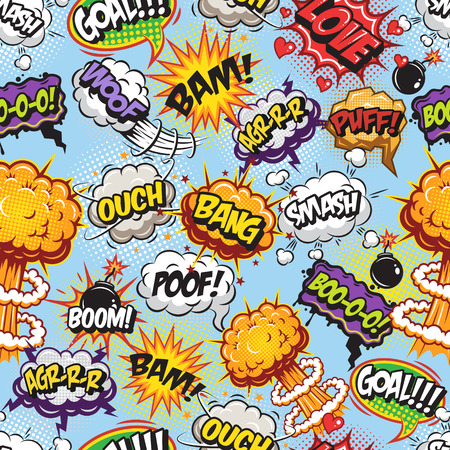 bang: Comics pattern with speech and explosion bubbles on blue background.