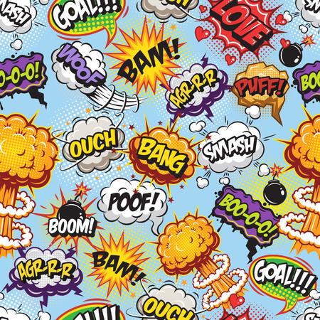 enojo: Patrón de los tebeos con el habla y explosión burbujas sobre fondo azul.