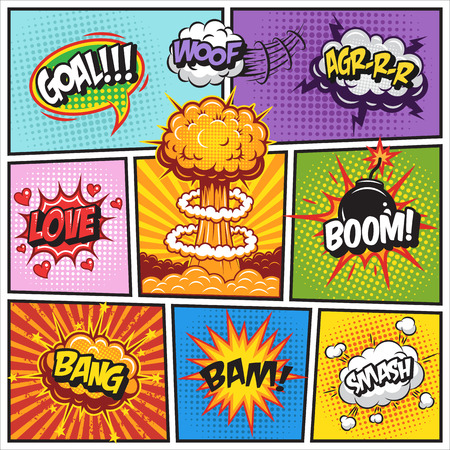 book: Set of comics speach and explosion bubbles on a comics book background. Colored with text