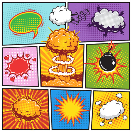 Set of comics speach and explosion bubbles on a comics book background. Colored Illustration