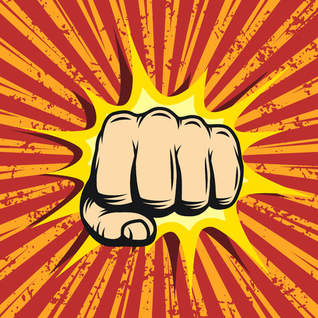 anger: Comics poster with fist and explosion bubble on comic background.