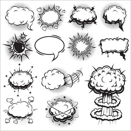 nubes de caricatura: Conjunto de c�mics discurso y burbujas de explosi�n. Estilo monocrom�tico.