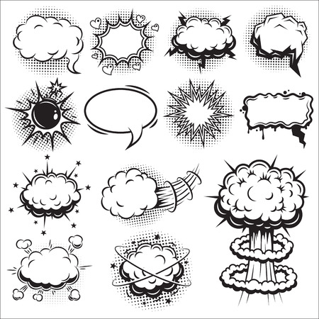 retro cartoon: Set of comics speach and explosion bubbles. Monochrome style.