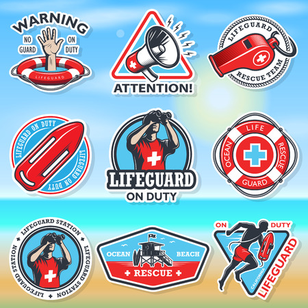 lifeguard: Set of vintage lifeguard coloured emblems on a coloured blured backgroung.