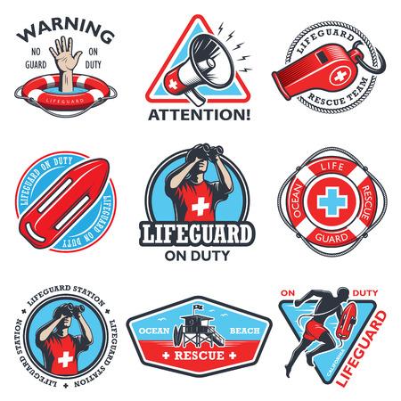 guard duty: Conjunto de emblemas de color salvavidas vintage aislados sobre fondo blanco.