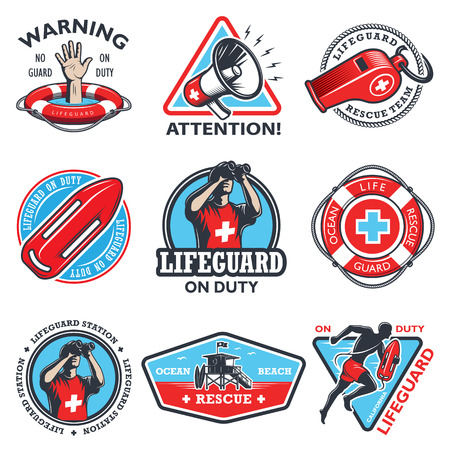 swimming pool water: Set of vintage lifeguard coloured emblems isolated on white background.