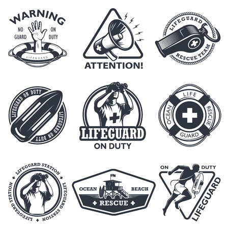 life guard: Set of vintage lifeguard emblems. Monochrome style. isolated on white background.