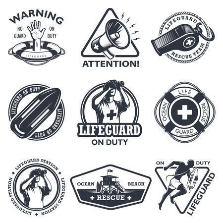 Set of vintage lifeguard emblems. Monochrome style. isolated on white background.