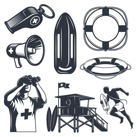 lifeguard: Set of vintage lifeguard elements. Monochrome style. isolated on white background. Illustration