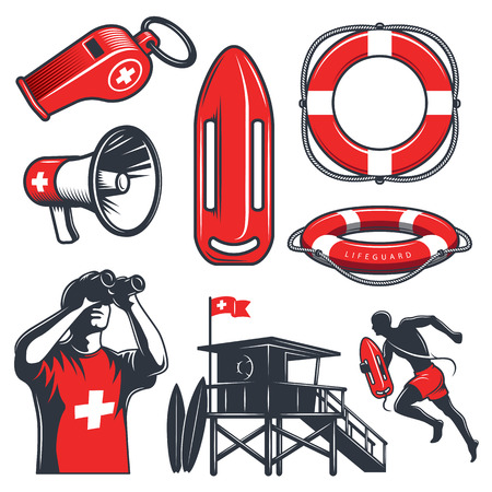 Set of vintage lifeguard coloured elements. isolated on white background.