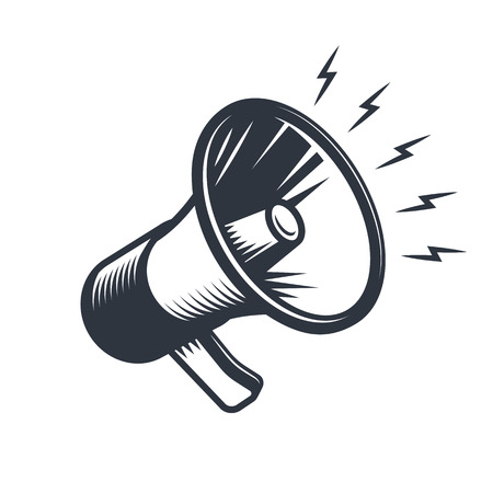 Illustrationn of megaphone. Monochrome style. isolated on white background.  イラスト・ベクター素材