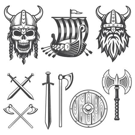 guerrero: Conjunto de elementos de vikingo monocromo aislados sobre fondo blanco Vectores