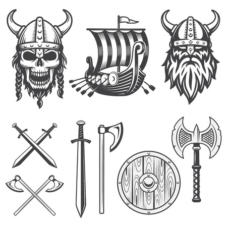 Set van monochrome viking-elementen geïsoleerd op een witte achtergrond