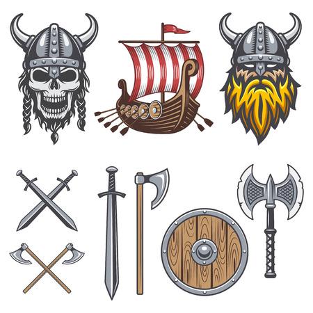 casco rojo: Conjunto de elementos de vikingo de colores aislados sobre fondo blanco
