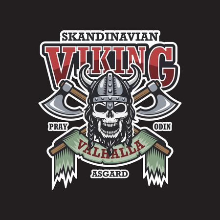 vikingo: Vikingo emblema sobre fondo oscuro. Color. Tema escandinavo Vectores