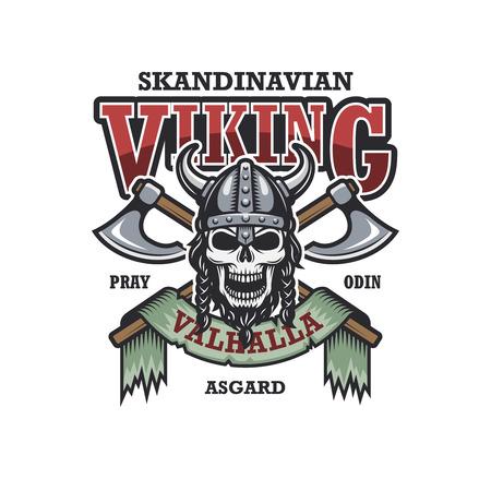 vikingo: Vikingo emblema sobre fondo blanco. Color. Tema escandinavo