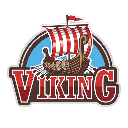 ships: Viking ship sport logo. Colored isolated on white background